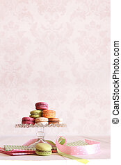 French macaroons on dessert tray