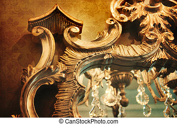 Ornate mirror with reflection and vintage background -...