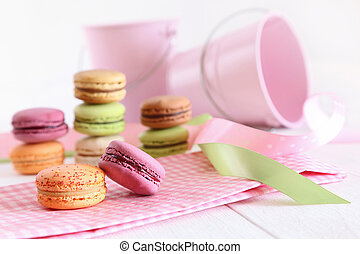 Delicious French Macaroons on table - Delicious French...