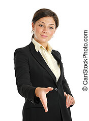 Business woman offering a handshake - This is an image of...