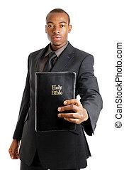 hombre, tenencia, biblia, actuación, compromiso
