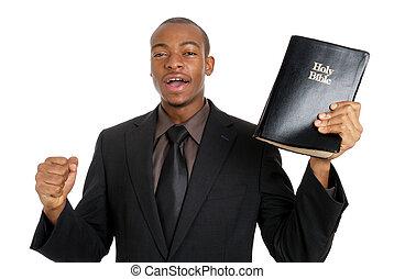 hombre, tenencia, biblia, predicación, evangelio