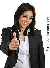 Business woman gesturing thumbs up
