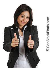Business woman gesturing double thumbs up