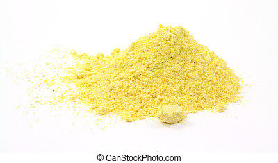 Stone ground yellow corn meal on a white background.