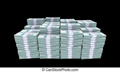 Money Bundles - 3d rendered animation of bundles of ruble...