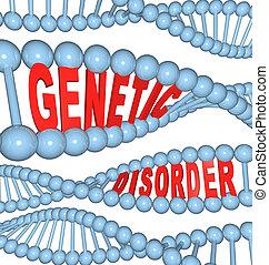 genético, desordem, -, mutação, ADN,...