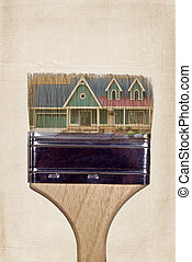 Painting the house - House in paint brush.