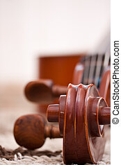 classical cello - Detail of a classical cello in white...