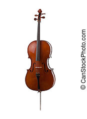 cello - beautiful wooden cello isolated on white background