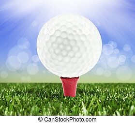 Spring background with a golf ball on a peg