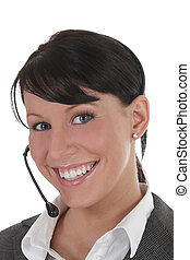 Professional women with headset - Younf professional women...
