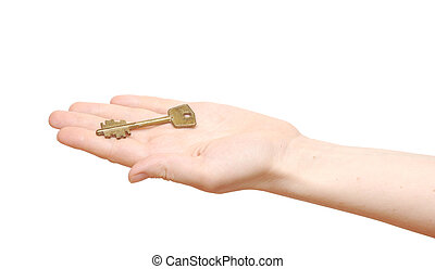 old key in hand woman isolated on white background