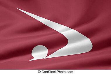 japón, bandera,  -,  akita