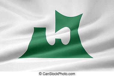 japón, bandera,  -,  Aomori