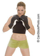 boxing - beautiful woman with boxing gloves