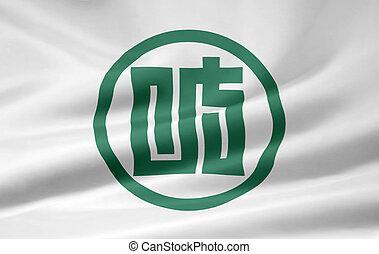 japón, bandera,  -,  gifu