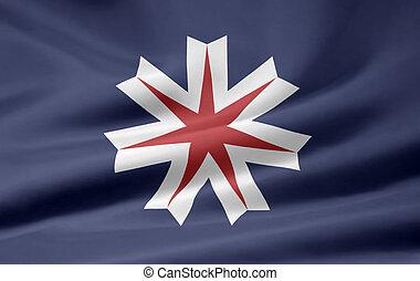 japón, bandera,  -,  hikkaido