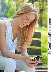 Mobile communication - happy teenager