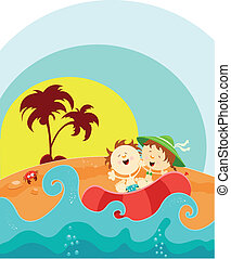Enjoy Summer - Two Little Kids Enjoying Summer