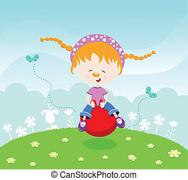 Girl jumping with hopperball - Cute little girl playing with...