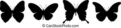 black butterflies - Silhouette of painting four black...