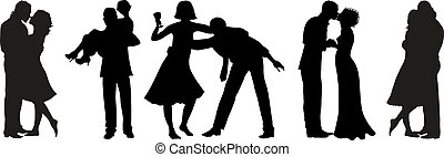 Couple - Vector illustration of five silhouettes of couples...