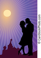 Honeymoon - Vector illustration of silhouette of Russian...