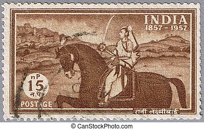 Rani Lakshmi bai - INDIA - CIRCA 1957: A stamp printed in...
