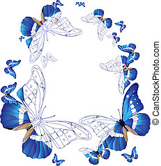 oval frame of blue butterflies - Vector illustration of oval...