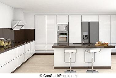 interior, blanco, marrón, cocina