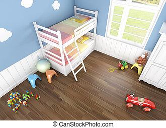 children´s bedroom seen from above - children´s bedroom in...