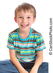 Smiling boy - Close up of smiling boy isolated on white...