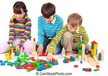 blocos, crianças, tocando