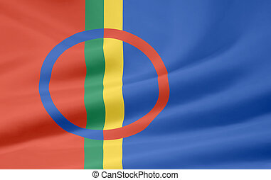 Flag of the Sapmi area - High resolution flag of the Sapmi...