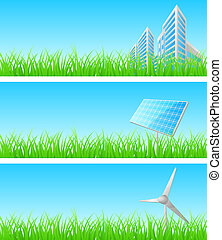 Vector triptych of objects on grass