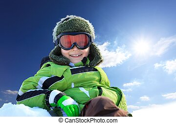 Smiling boy in wintry clothing - Portrait of smiling boy in...