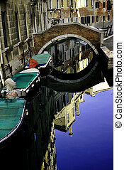 Venice canals and bridges, boats and historic buildings