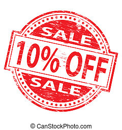 Sale Stamp - Rubber stamp illustration showing 10 PERCENT...
