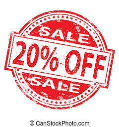 Sale Stamp - Rubber stamp illustration showing 20 PERCENT...