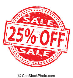 Sale Stamp - Rubber stamp illustration showing 25 PERCENT...