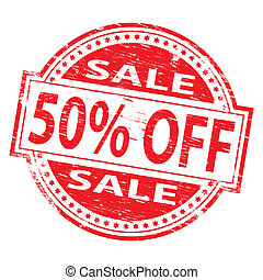 Sale Stamp - Rubber stamp illustration showing 50 PERCENT...