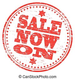 Sale Stamp - Rubber stamp illustration showing SALE NOW ON...