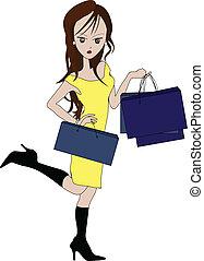 shopaholic - girl holding shopping bags