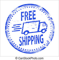 Free Shipping Stamp - Rubber stamp illustration showing FREE...