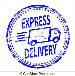 Express Delivery Stamp - Rubber stamp illustration showing...