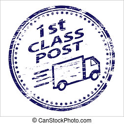 1st Class Post Stamp - Rubber stamp illustration showing...