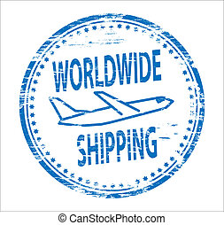 Worldwide Shipping Stamp - Rubber stamp illustration showing...