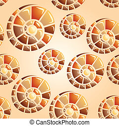 vector seamless background with snail shells