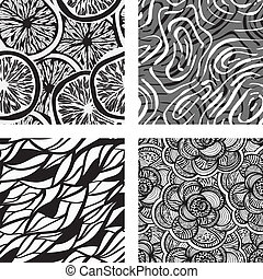 four vector seamless abstract backgrounds - four vector...